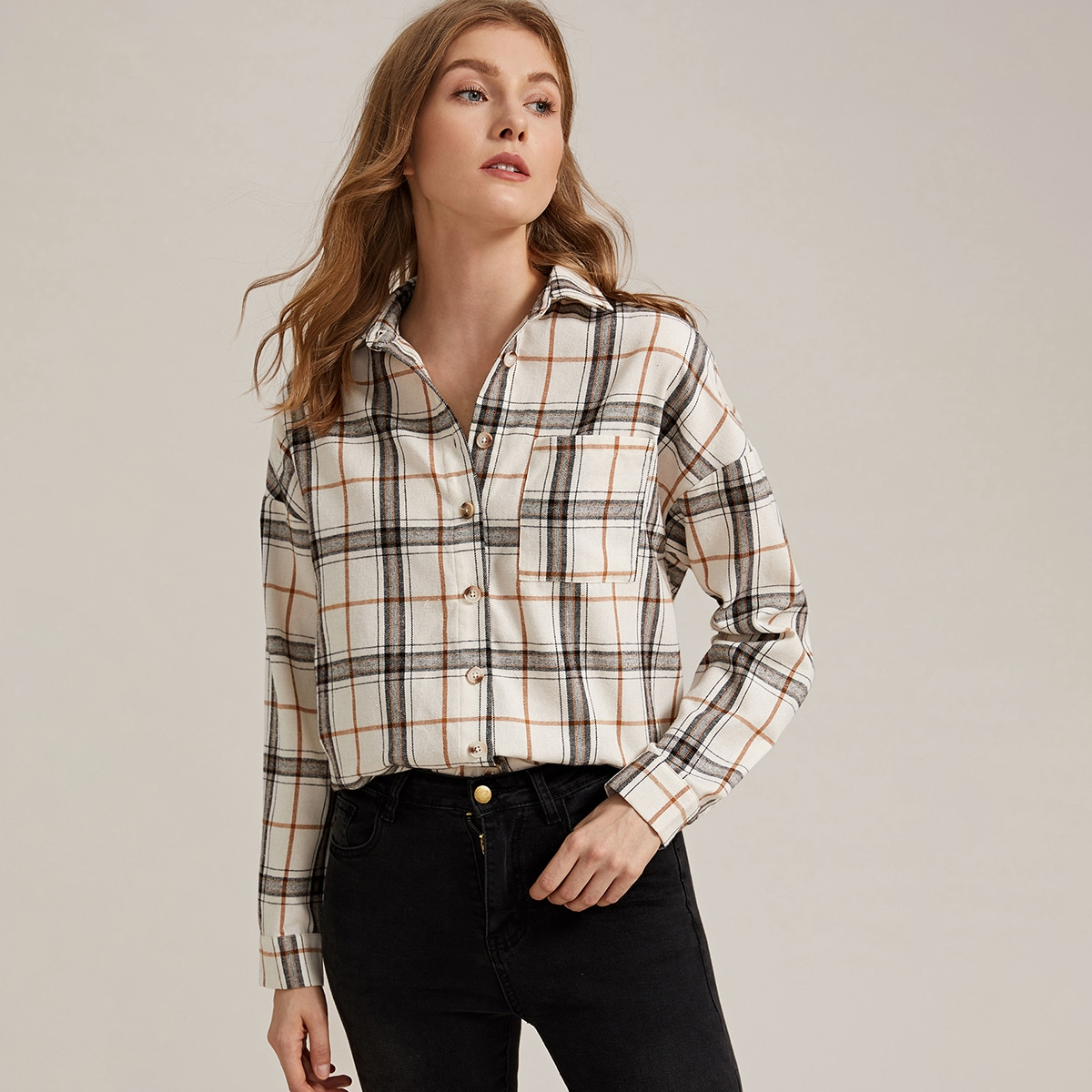 Collared Pocket Front Plaid Blouse