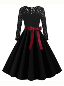 Plus Contrast Lace Belted Fit And Flare Dress