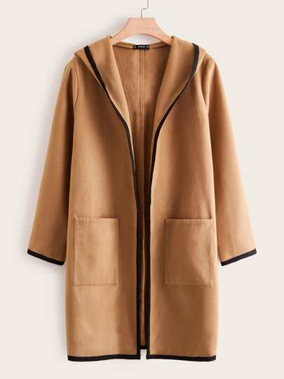 Plus Pocket Front Contrast Binding Hooded Coat