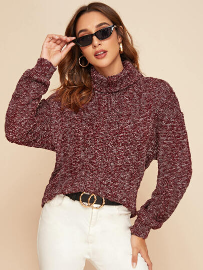 Turtleneck Drop Shoulder Marled Sweater