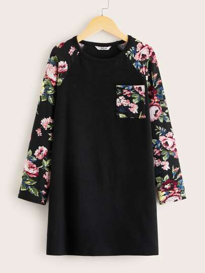 Girls Floral Print Pocket Front Raglan Sleeve Dress