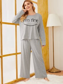 Plus Letter & Graphic PJ Set