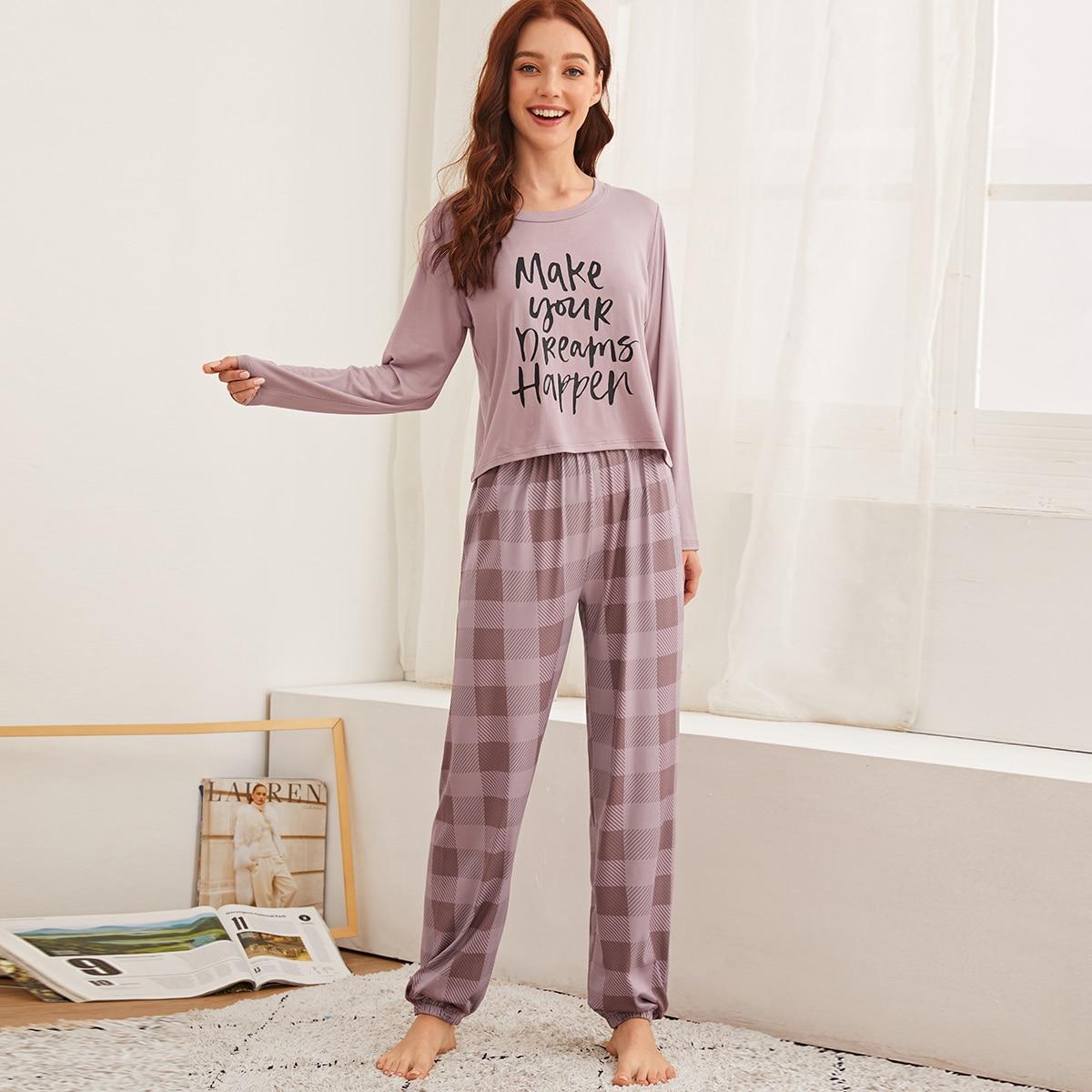 Schlafanzug Set mit Buchstaben & Karo Muster