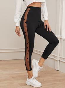 Star Print Mesh Panel Leggings