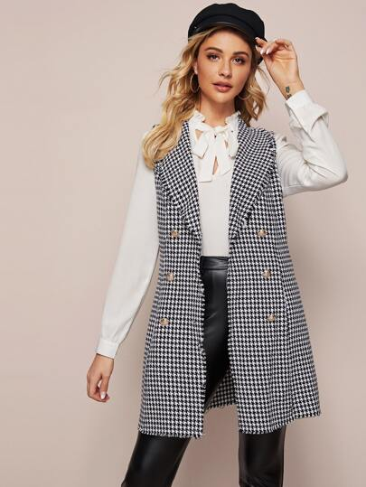 Tweed Houndstooth Raw Trim Double Breasted Vest Coat