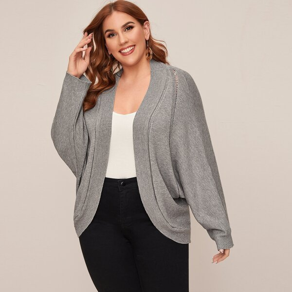 Plus Open Front Dolman Cardigan, Grey