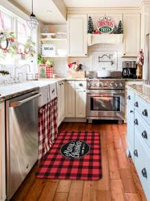 Christmas Gingham Pattern Floor Mat