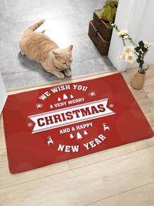 Christmas Slogan Print Floor Mat