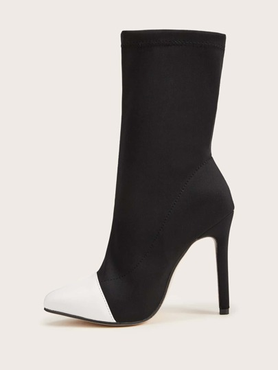 Two Tone Point Toe Stiletto Heeled Boots