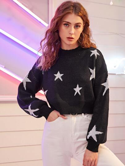 Star Drop Shoulder Crop Sweater