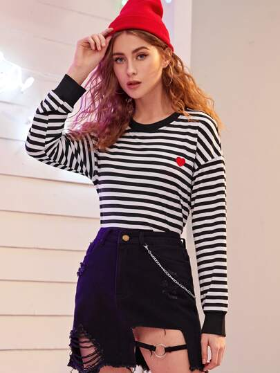 Heart Embroidery Striped Tee