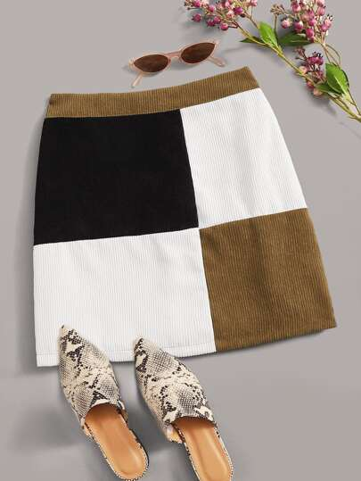 Patchwork Color-Block Zip Back Corduroy Skirt