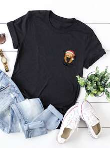 Cartoon Print Round Neck Tee