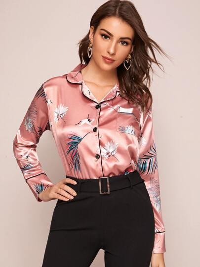 Crane & Plants Print Satin Blouse