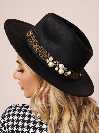 Faux Pearl Decor Leopard Belt Decor Floppy Hat