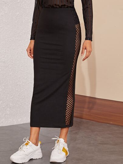 Solid Contrast Fishnet Pencil Skirt
