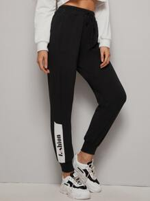 Letter Graphic Drawstring Waist Pants