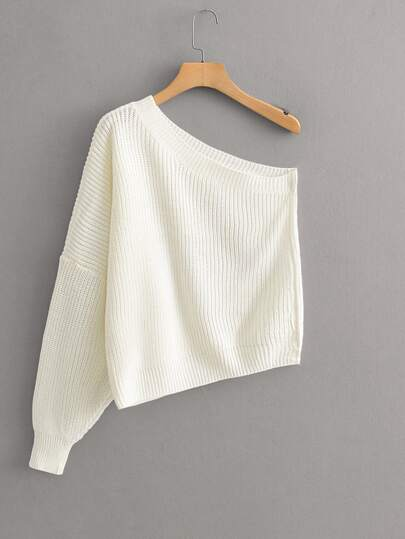 One Shoulder Ribbed Knit Sweater