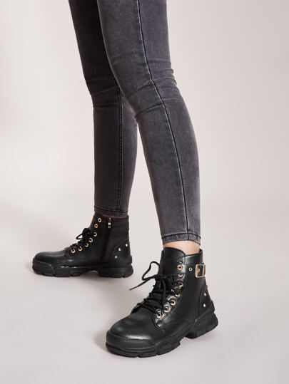 Buckle & Studded Decor Lace-up Front Boots