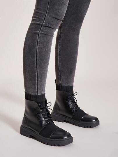 Lace-up Front Knit Panel Boots