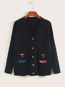 Button Through Pocket Front Cardigan
