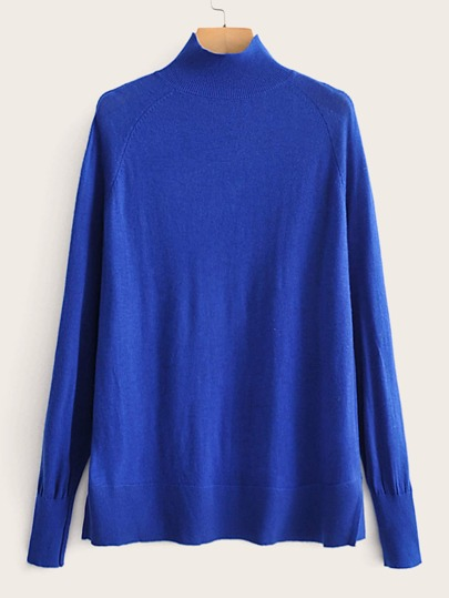 Funnel Neck Raglan Sleeve Split Hem Sweater