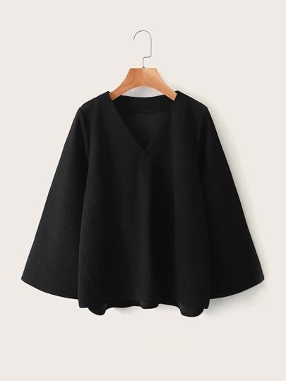 Solid V-neck Bell Sleeve Blouse
