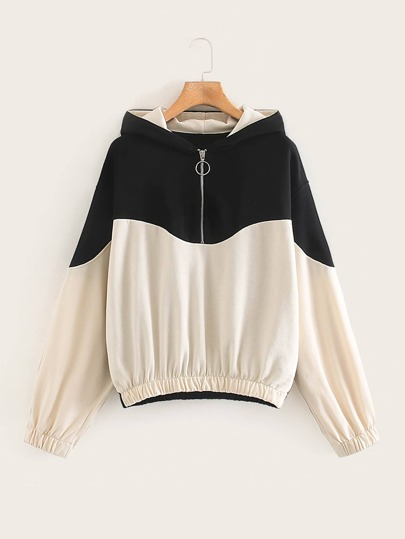 Two Tone Half Zip Hooded Sweatshirt
