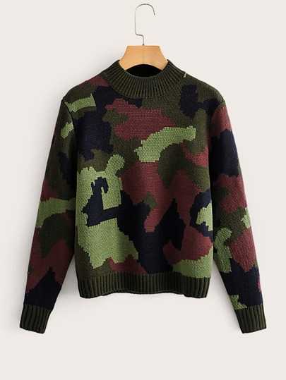 Mock Neck Camo Print Sweater