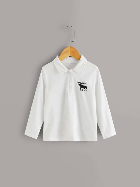 Toddler Boys Deer Embroidery Polo Shirt, White