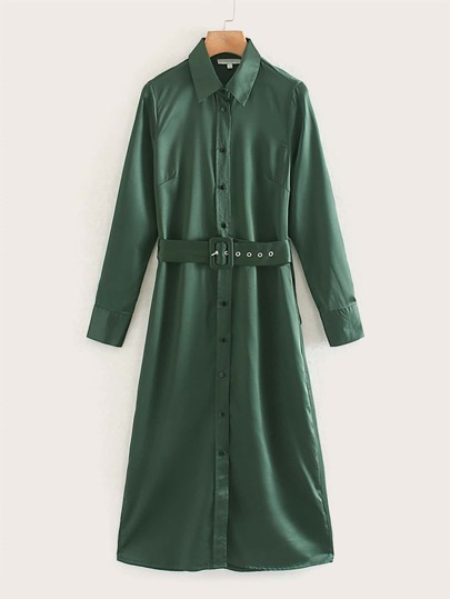 Button Through Belted Shirt Dress