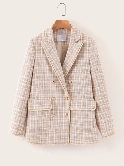 Double Breasted Pocket Plaid Tweed Blazer