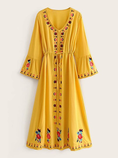 Floral And Tribal Embroidered Drawstring Waist Dress