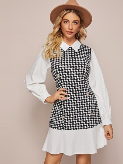Double Breasted Contrast Houndstooth Print Dress