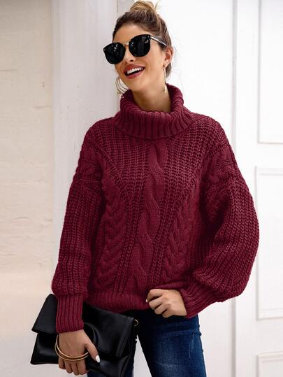 Cable Knit Turtleneck Lantern Sleeve Sweater