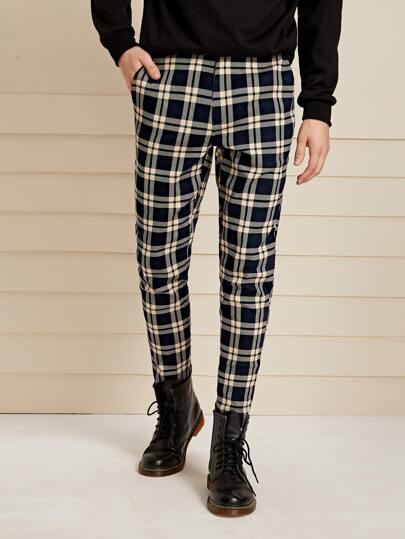 Guys Pocket Side Tartan Pants