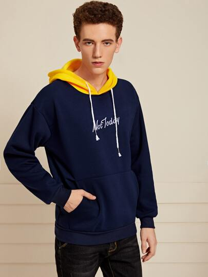 Guys Letter Embroidery Drawstring Hoodie