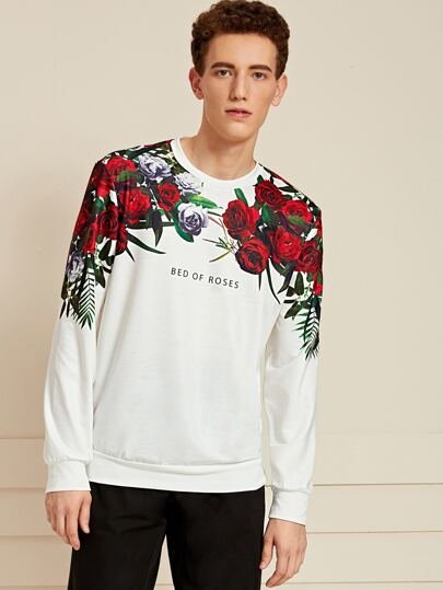 Guys Crew Neck Slogan and Floral Graphic Sweatshirt