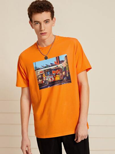Guys Neon Orange Picture Print Tee