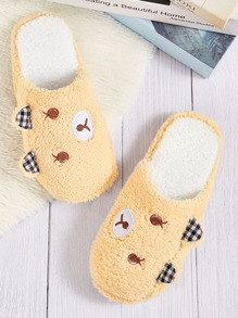 Cartoon Design Embroidered Detail Slippers