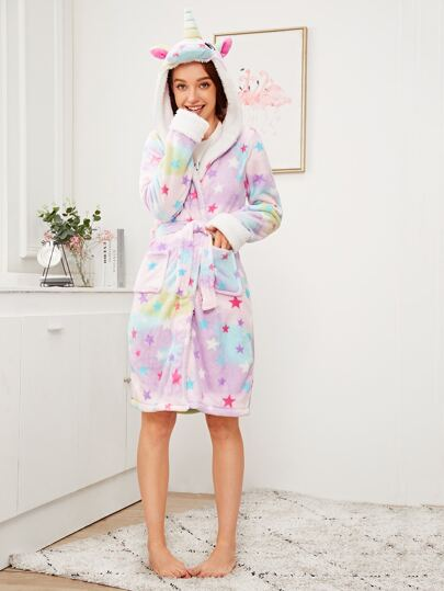 Unicorn & Star Print Belted Hooded Robe