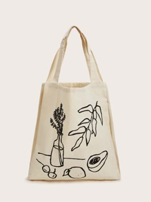 Leaf & Vase Graphic Canvas Book Bag