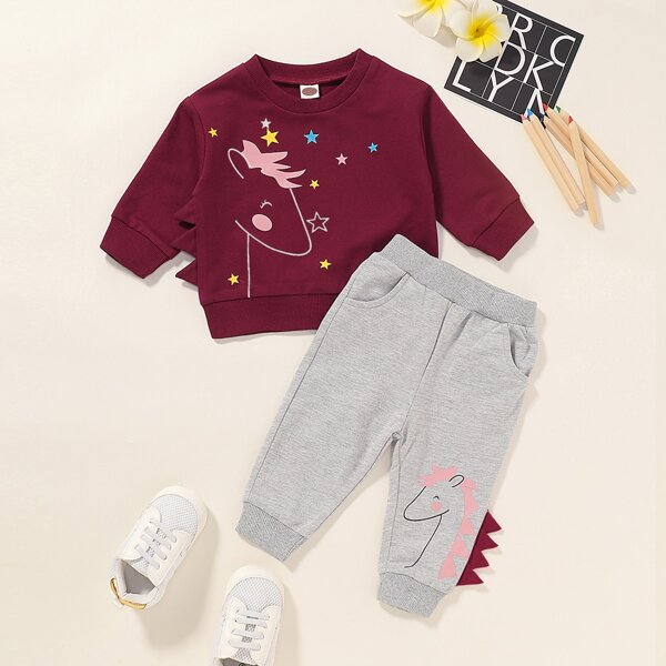 Toddler Girls Cartoon Graphic Sweatshirt With Joggers, Multicolor