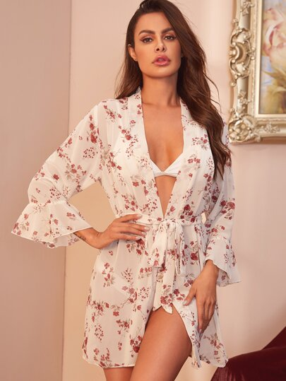 Floral Print Riffle Trim Belted Robe