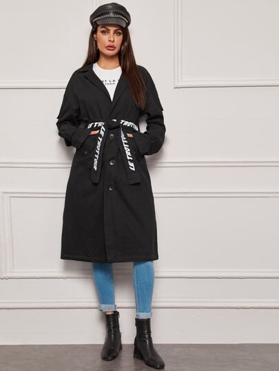 Lapel Collar Letter Belted Trench Coat