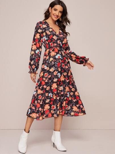 Surplice Neck Ruffle Hem Floral Print Dress