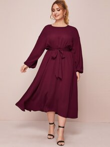 plus bishop sleeve belted flowy dress