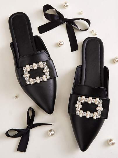 Point Toe Faux Pearl & Rhinestone Decor Flat Mules
