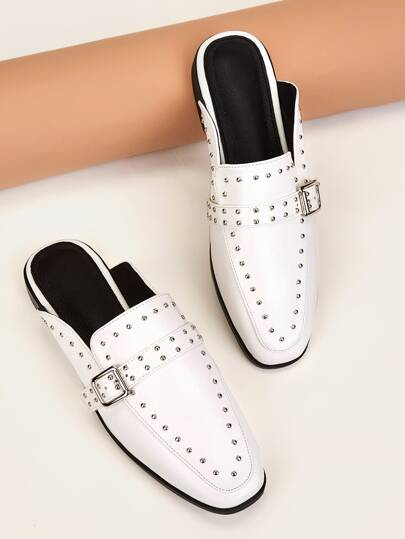 Buckle & Studded Decor Square Toe Flat Mules