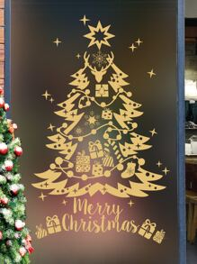 Christmas Tree Print Wall Sticker